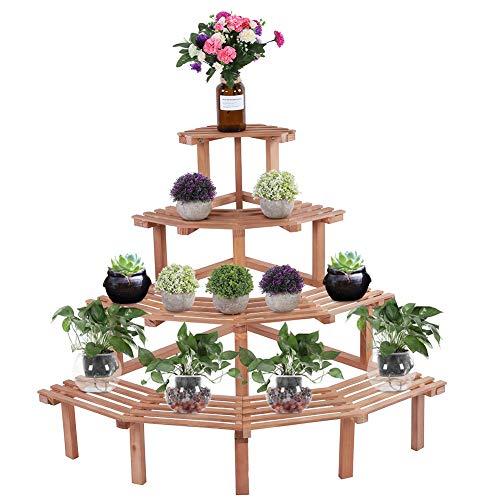 Soporte para plantas, 4 niveles de madera, soporte para macetas de esquina, estilo de escalera, maceta, estante de exhibición para plantas para interiores y exteriores((Madera natural))