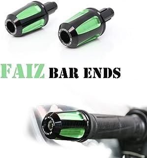 Green FAIZ CNC Bar End Weights For Kawasaki ZX-10R Ninja 2006-2014 ZX-636 RR ZX-6R Ninja 2009-2018 MC Motoparts