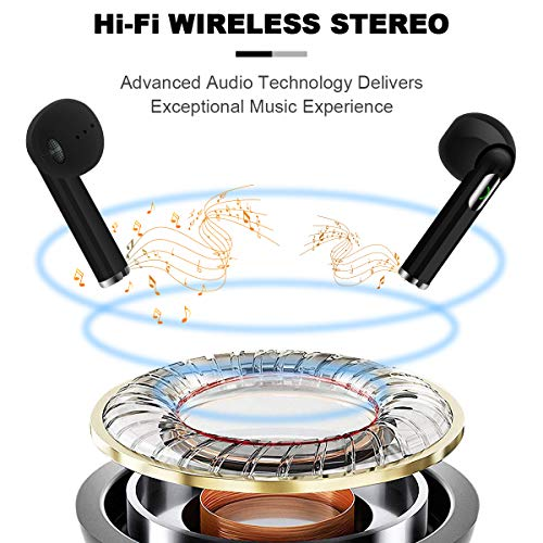Wireless Earbuds,Bluetooth Earbuds Wireless Earphones Stereo Wireless Earbuds with Microphone/Charging Case Bluetooth in Ear Earphones Sports Earpieces Compatible iOS Samsung Android Phones Black 6