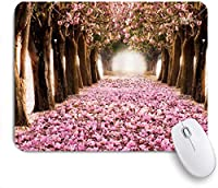 NIESIKKLAマウスパッド ロマンスさくらガーデニングアート早春桜の花びら落ちる花海の風景 ゲーミング オフィス最適 高級感 おしゃれ 防水 耐久性が良い 滑り止めゴム底 ゲーミングなど適用 用ノートブックコンピュータマウスマット