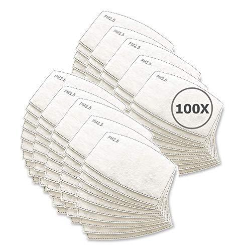 TBOC Filtro Monouso per Mascherina - [Pack 100 Unità] Lotto di Filtri intercambiabili 5 Strati di Filtrazione Sostituibili Materiale Morbido Traspirante Protezione Polvere Inquinamento Agenti Dannosi