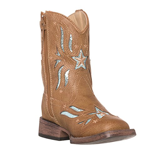 Children Western Kids Cowboy Boot,Tan,8 M US Toddler