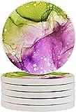 Mármol Textura Verde Púrpura Absorbente Posavasos Bebida Mantel 6pcs/Set Diatomita Copa Coaster Protección Resistente al Calor para Tazas