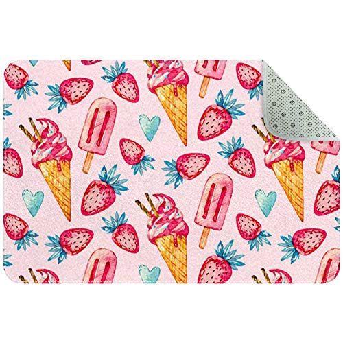 Chair Mat Protector for Hard Floors, Non Slip Door Mats Inside Floor Mats Area Rug Strawberry Ice Cream Popsicle
