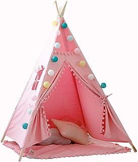Vobajf Lektält barn lekstuga barn leker tält leksak tipi för barn småbarn inomhus lektält (färg: Vit, storlek: 120 x 120 x...
