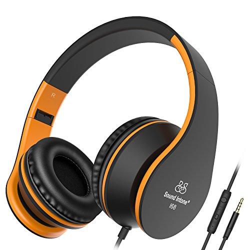 Sound Intone I68 Auriculares Plegable Estirable On-ear con Micrófono en línea Control del Volumen para Teléfonos Inteligentes /Ipod/Ipad/MP3/PC (Negro/Naranja)