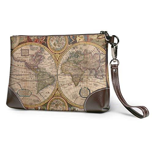 baowen Vintage Map Graphics Bolso de mano de cuero para mujer Bolso...