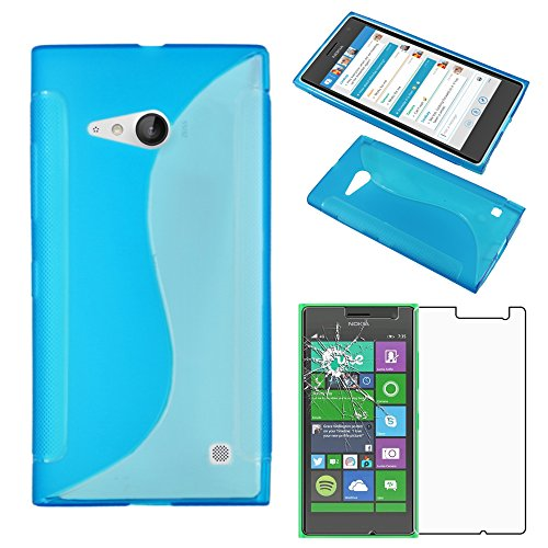 ebestStar - Cover Compatibile con Nokia Lumia 735 730 Dual Custodia Protezione S-Line Silicone Gel TPU Morbida e Sottile, Blu +Pellicola Vetro Temperato [Apparecchio: 134.7 x 68.5 x 8.9mm, 4.7'']