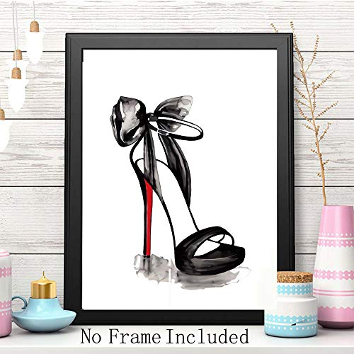 """Fashion Makeup Art Print Set o   f 4(8""""X10"""") Painting for Women Gifts Poster Pictures,Fashion Lipstick,Mascara,High Heels, Fashion Wall Art Canvas Poster for Girls Room Decor,Unframed"""