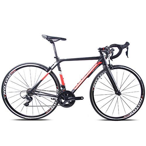 Xiaoyue Adult Rennrad, Profi 18-Speed Racing Fahrrad, Ultra-Light Alurahmen Doppel-V Bremse Rennrad, ideal for die Straße oder Schmutz Trail Touring, Weiss, TA30 lalay (Color : Red, Size : X6)