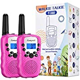Funkprofi Walkie Talkies for Kids, 3 KMs Long Range 22 Channels Two Way Radios for Boys and Girls, Walky Talky for Age 3-12 Years Old Kids, Outside Play Toys for Hiking Camping (Pink)