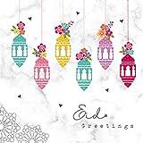 Hello Eid Grußkarte, Serie von islamischen Karten, muslimischen Karten, Eid Greetings – Laternen