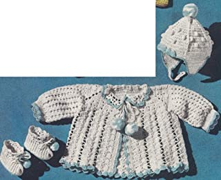 Vintage Crochet PATTERN to make - Baby Sacque Hat Booties Set Boys Girls. NOT a finished item. This is a pattern and/or instructions to make the item only.