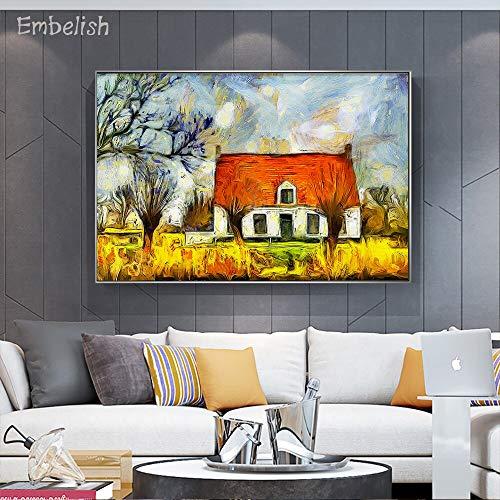 Einbettung Stück Haus am Ufer des Damme-Kanals Landschaft HD Leinwand Gemälde für Wohnzimmer Dekoration Wandkunst Bilder 60x90cm