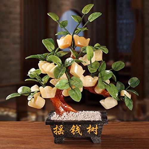 Ornamento de Escritorio Feng Shui Moneda china del árbol del dinero jade suerte la decoración del árbol de la sala de Fortune árbol Oficina de decoración del hogar del árbol del dinero artesanías deco