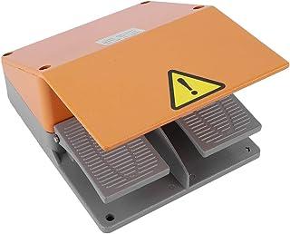 フットペダルスイッチ YDT1‑15380VACフット操作ペダルコントローラー 電気機械電源クリップキット用 デュアル電気スイッチ