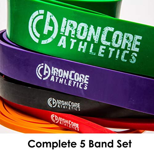 Iron Core Athletics Pull Up Assistance Band Pack - Set of 5 Heavy Duty 41' Loop Bands for Pull-Up Assist - #1 Orange #2 Red, 3 Black, 4 Purple, 5 Green – Provides 5 – 300lbs Resistance/Assistance
