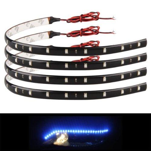 Ecloud Shop 4 X Bande Lumineux Lampe 12V 15 LEDs Etanche Bleu Pour Voiture 30x1cm