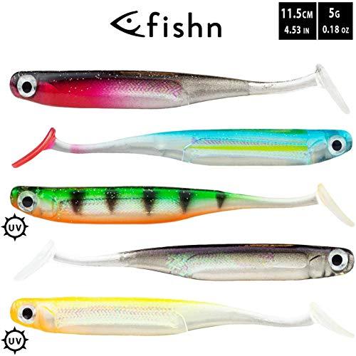 FISHN LURIEone - 5 Gummifische 11,5cm, 5gr zum Angeln auf Zander, Barsch, Hecht und Forelle