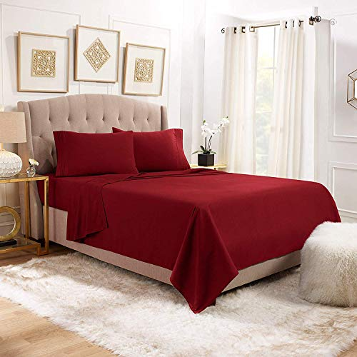 Clara Clark 1800 Thread Count Deep Pocket King Size RED Bed Sheet Set 4PCS 100GSM Microfiber Brushed Bed Sheets Egyptian Quality - Exceptionally Soft - High Strength Microfiber - 100% Wrinkle Free