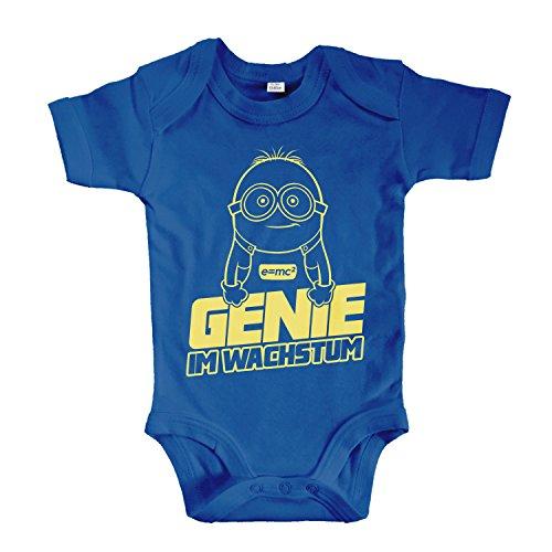 net-shirts Organic Baby Body mit Genie IM WACHSTUM Aufdruck Spruch lustig Strampler Babybekleidung aus Bio-Baumwolle Inspired by Minions, Größe 3-6 Monate, Royalblau