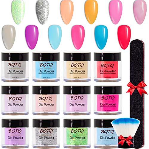 BQTQ 12 Farben Dipping Powder Dip Pulver Nagel Starter Kit, Dip Powder Nails Set mit Nagelstaubbürste und Nagelfeile für French Maniküre Nail Art