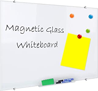 ZHIDIAN Glass Dry-Erase Board Set, 4' x 5' Large Magnetic Whiteboard for Wall Frameless White Glassboard, Includes 4 Markers, 1 Eraser, 4 Magnets