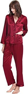 LilySilk Women's Long Silk Pajamas Set V Neck Full Length with Coloured Trim