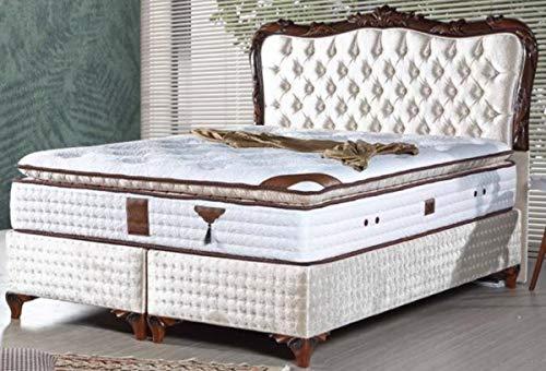 Casa Padrino Barock Doppelbett mit Matratze Champagnerfarben/Braun - Edles Bett im Barockstil - Komplett Set