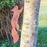 GK rostiges Eichhörnchen rennend - Baumstecker edelrost deko Höhe 15cm x Länge 47cm - Metall Rost Gartendeko als Eichhörnchen Figur- Rostdeko Metall Rost Gartenstecker