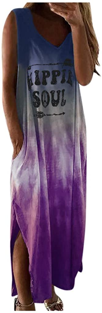 UQGHQO Summer Dresses for Women, Women's Tie-Dye Print Sleeveless Pocket Maxi Dress Casual Split Hem Beach Sundress