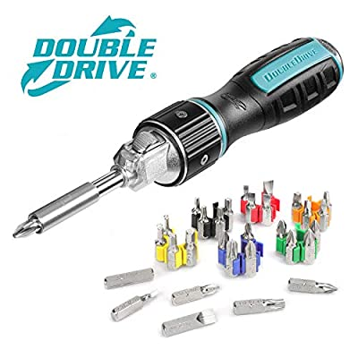 DOUBLEDRIVE Ratcheting Screwdriver Set - 2X Faster, 37-piece Repair Tool Kits for Laptop, PC, Furniture, DIY Hand Work from Kaya Depot
