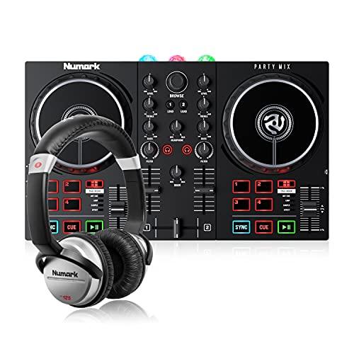 Numark Party Mix II + HF 125 – Einsteiger DJ Controller Set mit DJ-Lichtern, Mixer und DJ Kopfhörer
