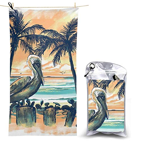 XCNGG Toalla de Playa de Microfibra, Pelican in Sunset Toalla de Secado rápido y rápido Manta Toallas de baño Ligeras, absorbentes Suaves y sin Arena para Playa, baño, natación, Viajes