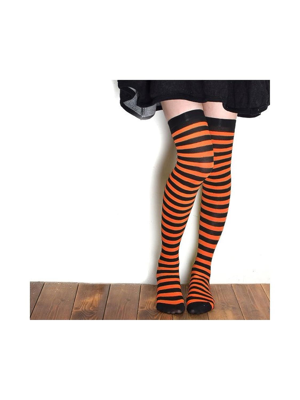 【ノーブランド品】 ニーハイソックス レディース 靴下 ニーソックス ハイソックス ブラック×オレンジ