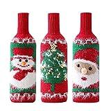 3 Piezas Cubre Botellas de Vino Navideñas, Toppers de Botellas de Vino de Navidad, Tejido Tapa de Botella de Vino de Navidad, Hecha a Mano de Navidad Juguete Regalo Cumpleaños, Fiestas, Navidad