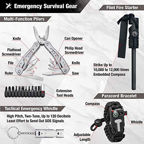 EVERLIT Survival Kit, 40-in-1 Outdoor Tactical Tools Emergency First Aid Kit