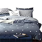 King Bedding Duvet Cover Triangle Pattern.Blue Reversible Duvet Cover with 2 Pillow Shams - Hotel Quality 100% Cotton - Luxurious, Comfortable, Breathable, Soft and Extremely Durable (King, Style 1)