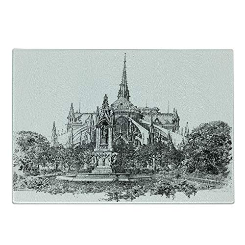 Ambesonne Notre Dame Cutting Board, Square of The Archdiocese and Apse of Notre Dame Historic French Landmark, Decorative Tempered Glass Cutting and Serving Board, Large Size, Grey and White