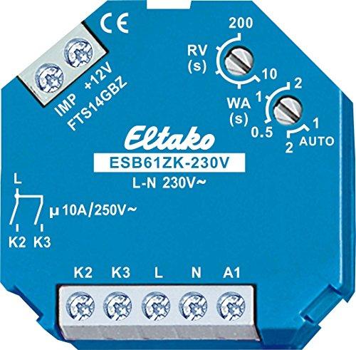 Eltako ESB61ZK-230 V stroomstootschakelaar voor schaduwelementen en rolluiken met centrale besturing, kleine spanning in combinatie met de Gateway FTS14GBZ, 1 stuk