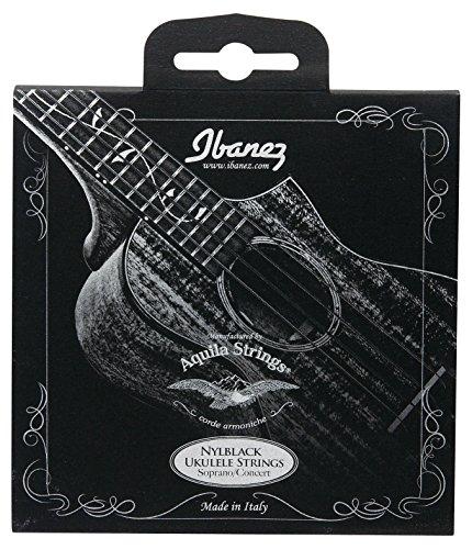 Ibanez NBUKS4 - Corde per ukulele, Aquila, 024-026, soprano, da concerno, in nylon, nero