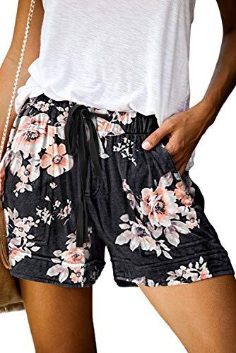 Women Comfy Drawstring Casual Elastic Waist Pocketed Shorts Pants Black Floral M