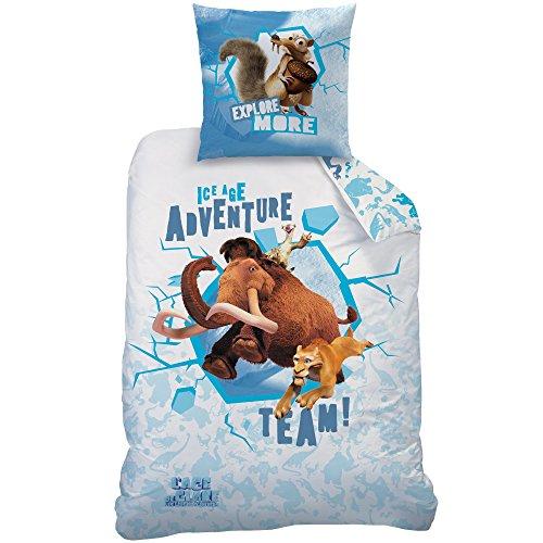 CTI 043703der Age von EIS Ice Bettbezug 140x 200cm und Kissenbezug 63x 63cm Baumwolle weiß