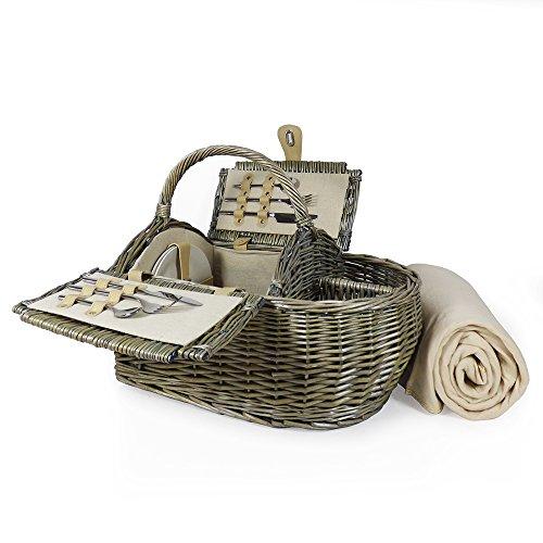 Luxus 2Personen Picknick Korb und Zubehör–Boot Style Kollektion, einschließlich Qualität cremefarbener Picknickdecke aus Fleece–Geschenk Ideen für Vatertag, Valentinstag, Muttertag, Geburtstag, Business, Hochzeit, Jahrestag und Corporate