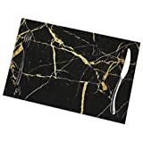 NoneBrand Black and Gold Marble PVC Placemat Weave Design Set of 6,Heat Resistant Dining Table Place Mats for Kitchen Table,12 x 18 inches