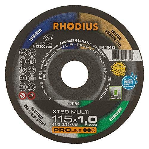RHODIUS extra dünne Trennscheibe Metall Stein Kunststoff XT69 MULTI Ø 115 mm Allroundtrennscheibe INOX 25 Stück