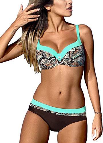 Bequemer Laden Damen Bikini Sets Bademode Badeanzug Push Up Bikini mit Verstellbarem Schulterriemen, Muster Blau, L