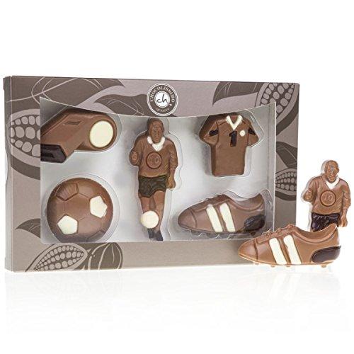 Fußballer-Set - aus Schokolade | Premium Qualität | Schoko Fußball Set | Geschenk für Fußball-Fans | Geburtstagsgeschenk | Kinder | Erwachsene | Mann | Frau | lustige Geschenkidee