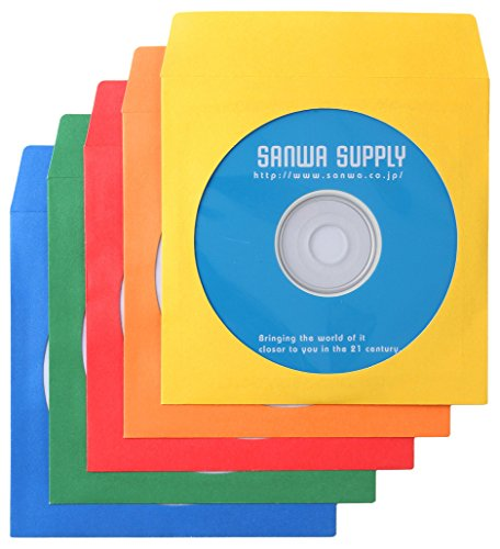 サンワサプライ DVD CDペーパースリーブケース 5色 FCD-PS100MXN 1パック 100枚