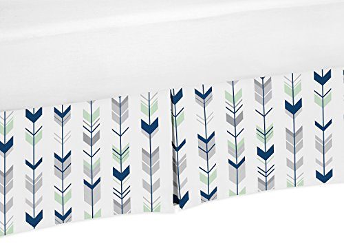 Sweet Jojo Designs Navy Blue, Mint and Grey Crib Bed Skirt Dust Ruffle for Boys or Girls Gender Neutral Mod Arrow Collection Baby Bedding Sets